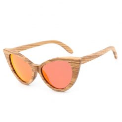 Vintage Handmade Women's Wooden Cat Eye Sunglasses Polarized Lenses 021